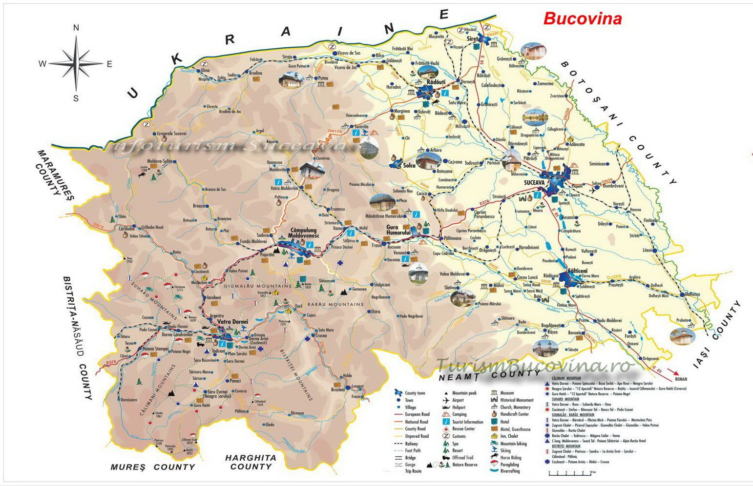 Harta Turistica A Bucovinei Judetul Suceavaturism Bucovina